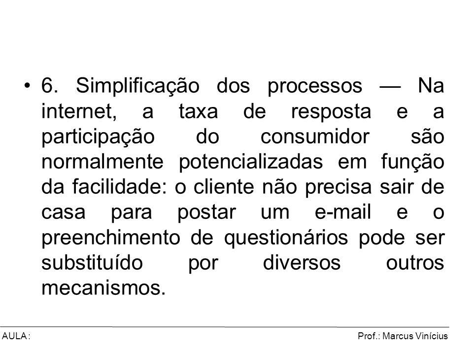 Prof.: Marcus ViníciusAULA : 6. Simplificação dos processos Na internet, a taxa de resposta e a participação do consumidor são normalmente potencializ