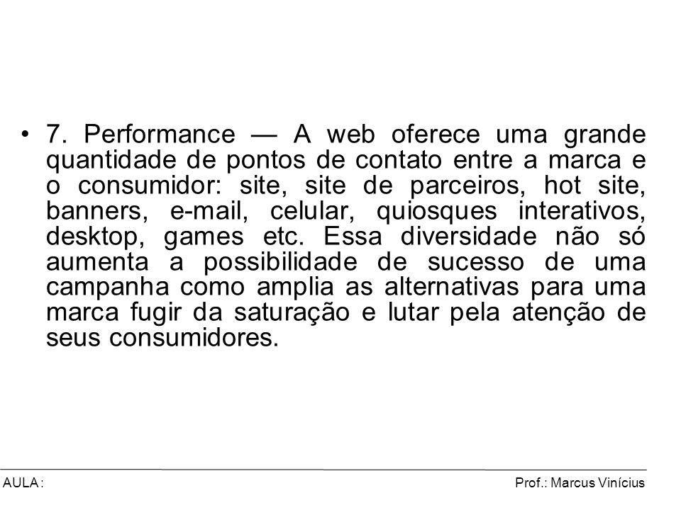 Prof.: Marcus ViníciusAULA : 7. Performance A web oferece uma grande quantidade de pontos de contato entre a marca e o consumidor: site, site de parce
