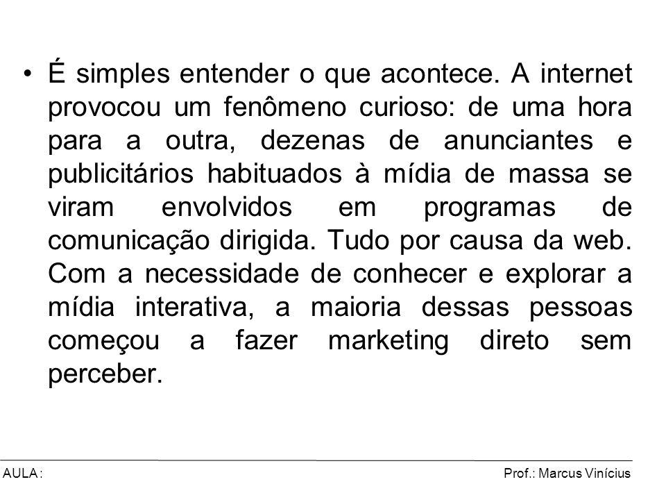 Prof.: Marcus ViníciusAULA : É simples entender o que acontece. A internet provocou um fenômeno curioso: de uma hora para a outra, dezenas de anuncian