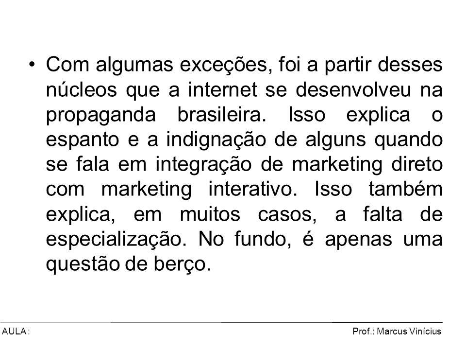 Prof.: Marcus ViníciusAULA : Com algumas exceções, foi a partir desses núcleos que a internet se desenvolveu na propaganda brasileira. Isso explica o