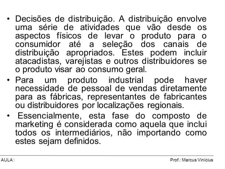 Prof.: Marcus ViníciusAULA : Decisões de distribuição. A distribuição envolve uma série de atividades que vão desde os aspectos físicos de levar o pro
