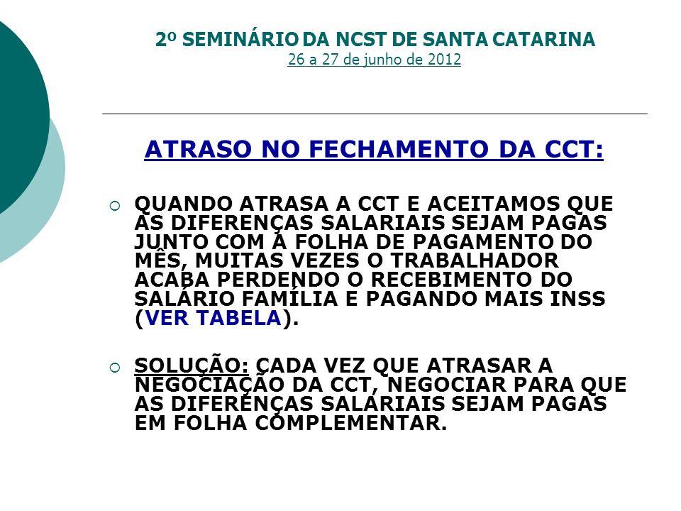 2º SEMINÁRIO DA NCST DE SANTA CATARINA 26 a 27 de junho de 2012 ATRASO NO FECHAMENTO DA CCT: QUANDO ATRASA A CCT E ACEITAMOS QUE AS DIFERENÇAS SALARIA