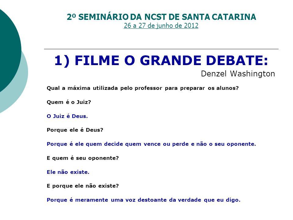 1) FILME O GRANDE DEBATE: Denzel Washington Qual a máxima utilizada pelo professor para preparar os alunos? Quem é o Juiz? O Juiz é Deus. Porque ele é
