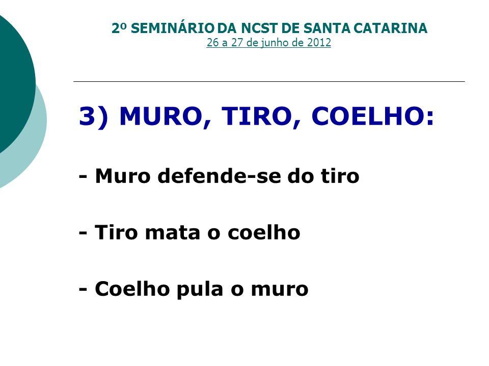 2º SEMINÁRIO DA NCST DE SANTA CATARINA 26 a 27 de junho de 2012 3) MURO, TIRO, COELHO: - Muro defende-se do tiro - Tiro mata o coelho - Coelho pula o