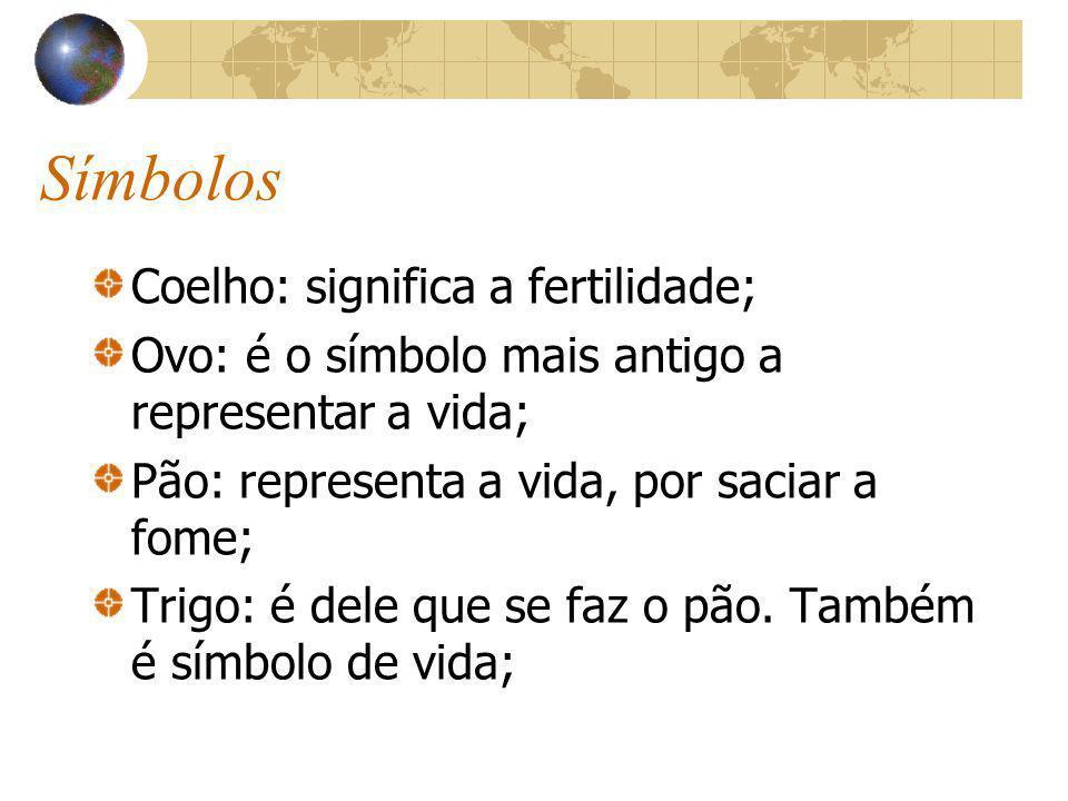 Símbolos Coelho: significa a fertilidade; Ovo: é o símbolo mais antigo a representar a vida; Pão: representa a vida, por saciar a fome; Trigo: é dele