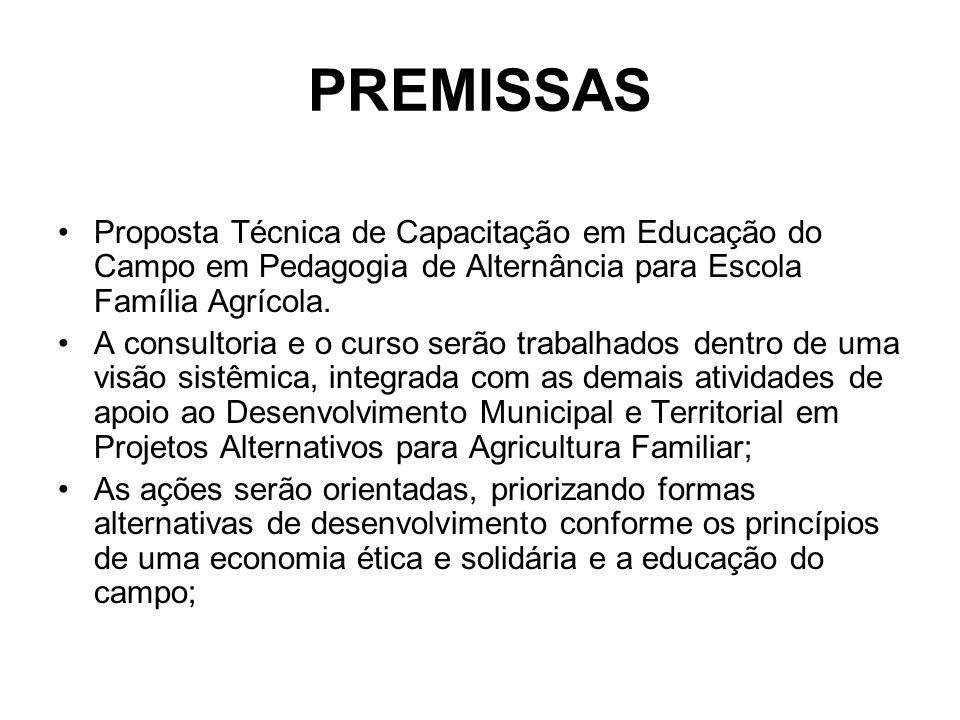 PREMISSAS Proposta Técnica de Capacitação em Educação do Campo em Pedagogia de Alternância para Escola Família Agrícola. A consultoria e o curso serão