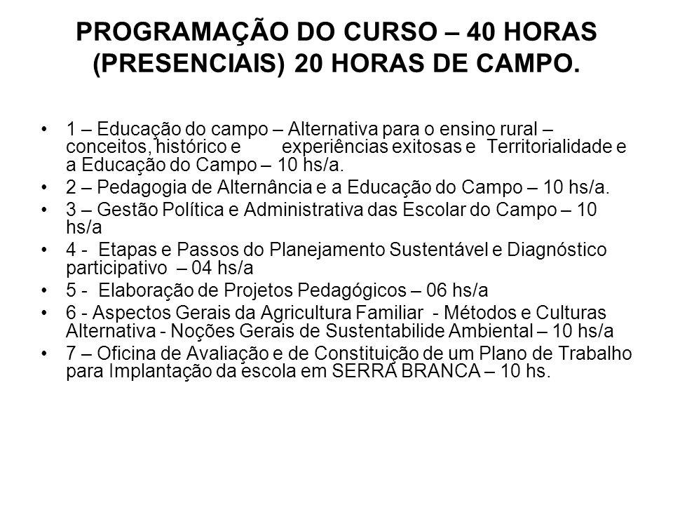 PROGRAMAÇÃO DO CURSO – 40 HORAS (PRESENCIAIS) 20 HORAS DE CAMPO. 1 – Educação do campo – Alternativa para o ensino rural – conceitos, histórico e expe