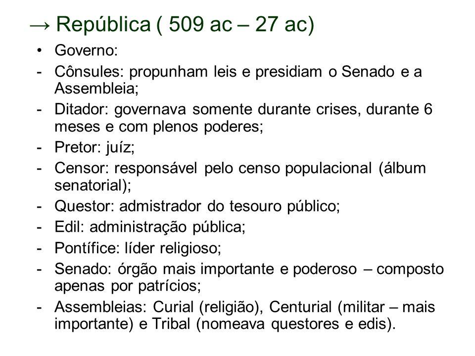 República ( 509 ac – 27 ac) Governo: -Cônsules: propunham leis e presidiam o Senado e a Assembleia; -Ditador: governava somente durante crises, durant
