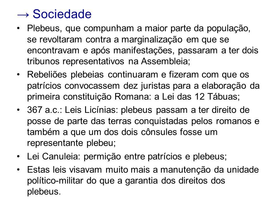 Sociedade Plebeus, que compunham a maior parte da população, se revoltaram contra a marginalização em que se encontravam e após manifestações, passara