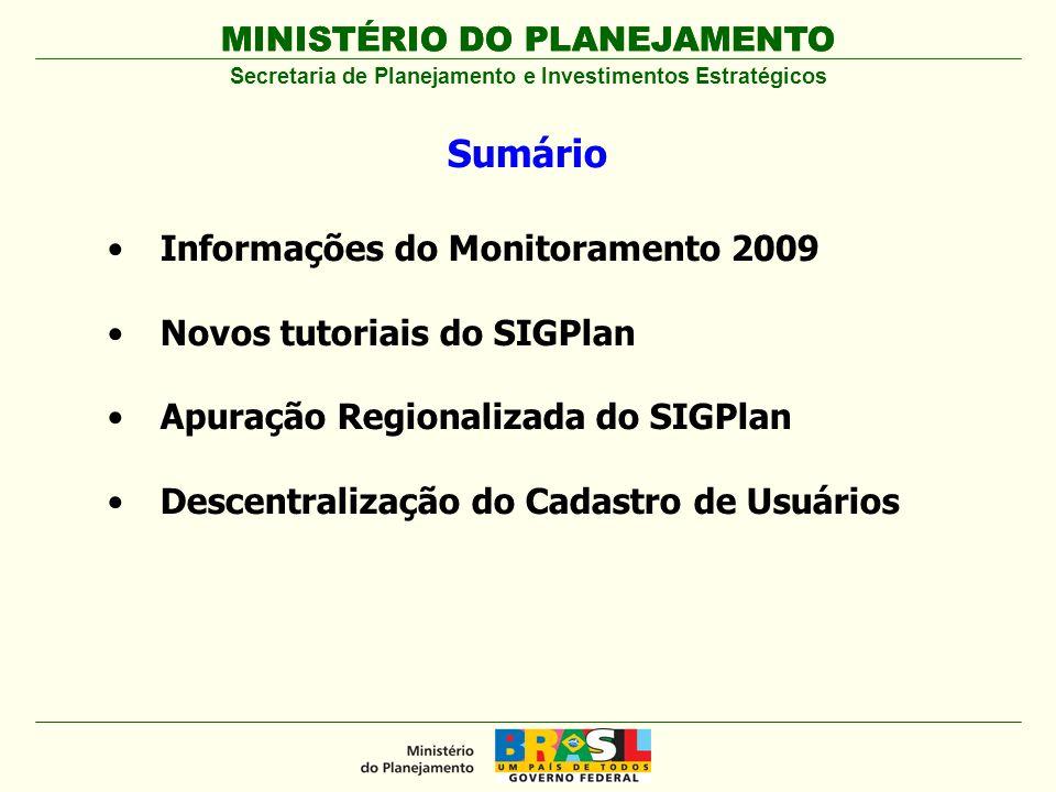 MINISTÉRIO DO PLANEJAMENTO Decreto nº 6.601, de 10 de outubro de 2008 Dispõe sobre a gestão do Plano Plurianual 2008-2011 e de seus programas (Modelo de Gestão) Portaria MP nº 66, de 1º de abril de 2009 Institui a Comissão de Monitoramento e Avaliação do Plano Plurianual – CMA para o PPA 2008-11 Portaria SPI nº 1, de 8 de maio de 2009 Estabelece os procedimentos e a periodicidade para registro de informações relacionadas com o desempenho dos programas e das ações do Plano Plurianual - PPA, no SIGPlan Portaria MP nº 140, de 10 de junho de 2009 Estabelece o Sistema de Monitoramento e Avaliação – SMA, organizando o papel dos atores da gestão do Plano Plurianual MINISTÉRIO DO PLANEJAMENTO Secretaria de Planejamento e Investimentos Estratégicos Monitoramento 2009 – Marco Legal Monitoramento 2009 – Marco Legal