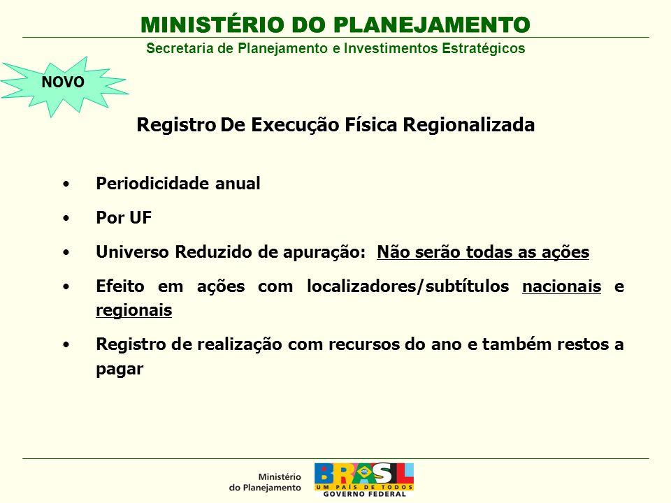 MINISTÉRIO DO PLANEJAMENTO Apuração da Informação Regionalizada no SIGPlan