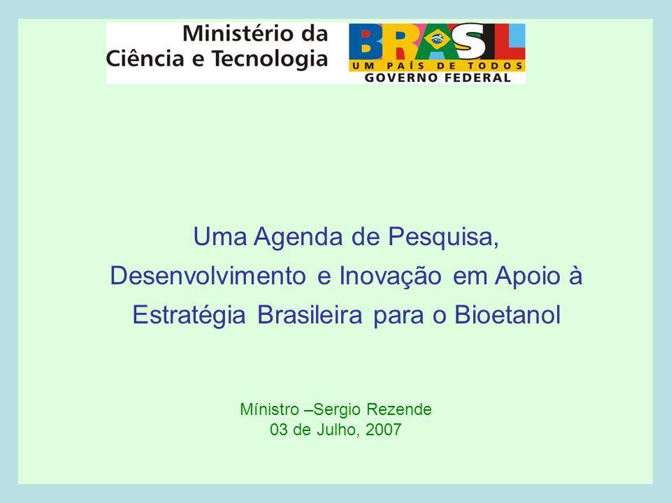 Mínistro –Sergio Rezende 03 de Julho, 2007 Uma Agenda de Pesquisa, Desenvolvimento e Inovação em Apoio à Estratégia Brasileira para o Bioetanol