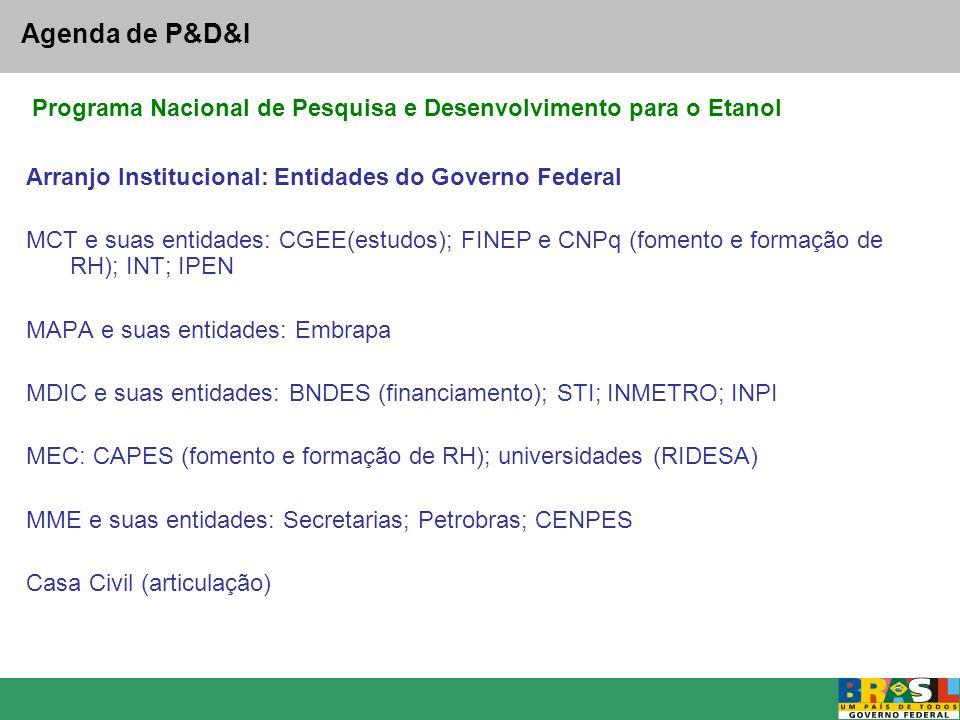 Agenda de P&D&I Arranjo Institucional: Entidades do Governo Federal MCT e suas entidades: CGEE(estudos); FINEP e CNPq (fomento e formação de RH); INT;
