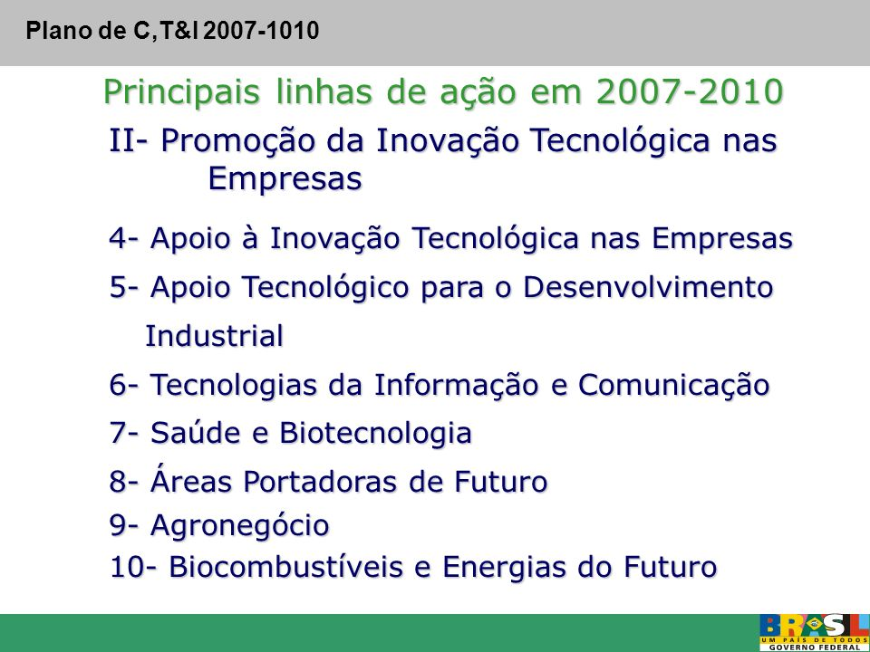 II- Promoção da Inovação Tecnológica nas Empresas Empresas 4- Apoio à Inovação Tecnológica nas Empresas 5- Apoio Tecnológico para o Desenvolvimento In