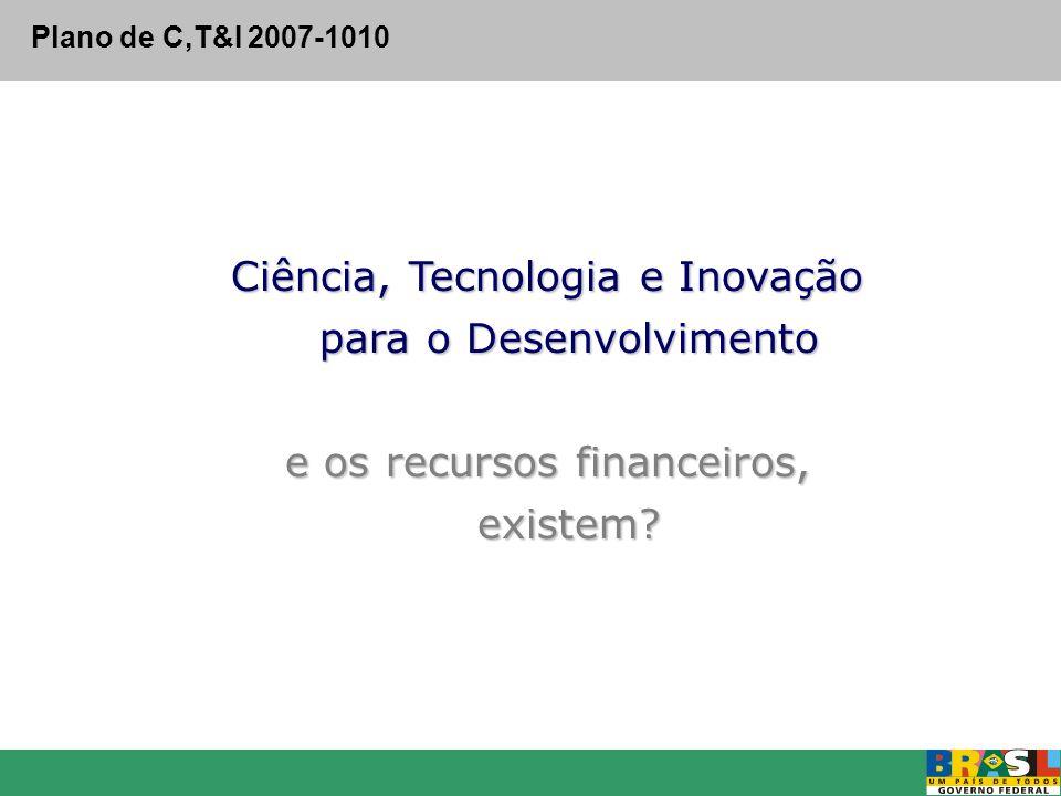 Ciência, Tecnologia e Inovação para o Desenvolvimento e os recursos financeiros, existem? Plano de C,T&I 2007-1010