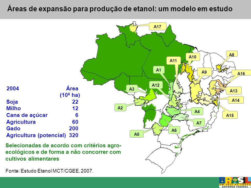 Áreas de expansão para produção de etanol: um modelo em estudo A2 A3 A5 A6 A7 A4 A9 A8 A10 A11 A12 A1 A16 A13 A14 A15 A17 Selecionadas de acordo com c