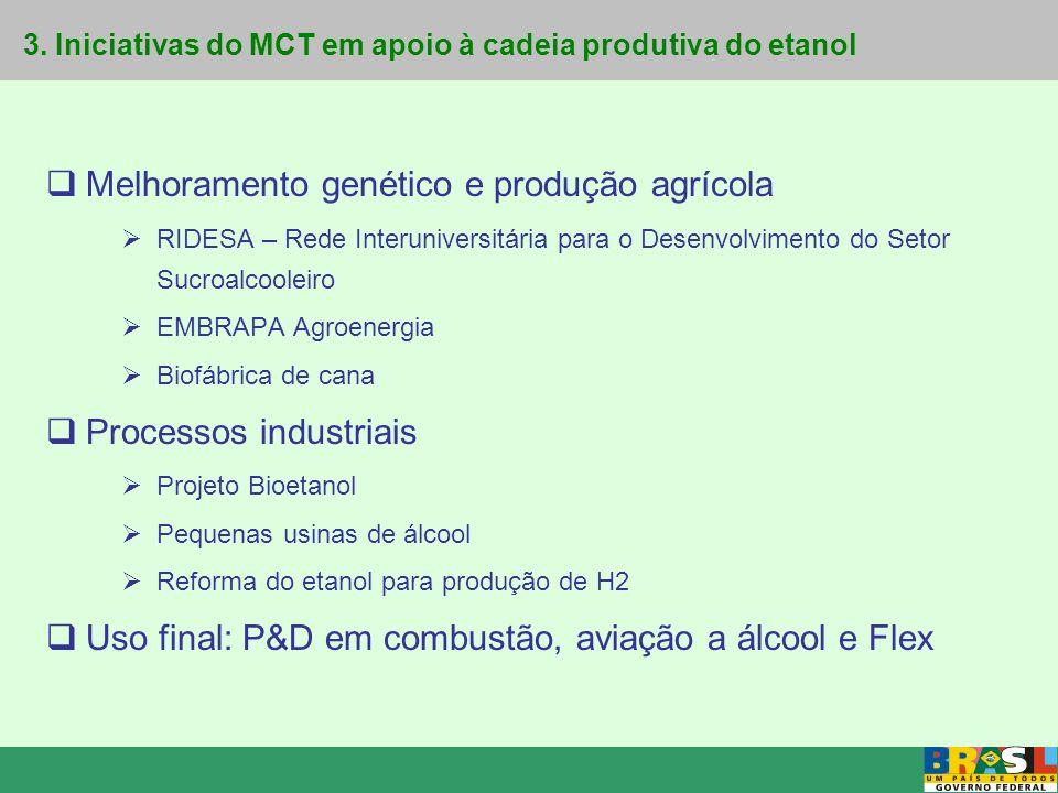 Projeto Bioetanol Iniciativas do MCT em apoio à cadeia produtiva do etanol e recursos financeiros aplicados Ridesa – R$ 1,8 milhão (Recursos do MCT/FNDCT) Pesquisa em agronegócio e genética – Rede de PD&I para desenvolvimento do agronegócio e para melhoramento genético de variedades de cana Executor: UFPR, UFSCar, UFV, UFRRJ, UFSE, UFAL, UFRPE, UFG Agroenergia – R$ 18,7 milhões (Editais e encomendas CT-Energ/CT-Agro/Finep) Apoio à Criação da Embrapa Agroenergia Programa de Agroenergia – Desenvolvimento de tecnologia agronômica e agro-industrial para a competitividade das cadeias produtivas de agro- energia, inclusive etanol