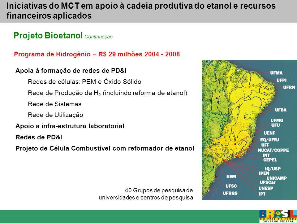 Fontes de Recursos Públicos FNDCT (FINEP) FUNTEC (BNDES) BNDES (reembolsável) PETROBRAS OGU (MAPA-EMBRAPA; MDIC-INMETRO; MEC-CAPES; MCT-CNPq) Parceiros estaduais: FAPESP e outras FAPs BID & BIRD Recursos Privados (a mobilizar) Agenda de P&D&I Programa Nacional de Pesquisa e Desenvolvimento para o Etanol