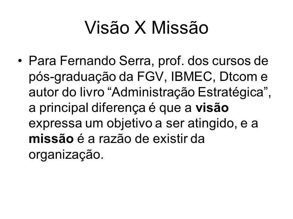 Visão X Missão Para Fernando Serra, prof. dos cursos de pós-graduação da FGV, IBMEC, Dtcom e autor do livro Administração Estratégica, a principal dif