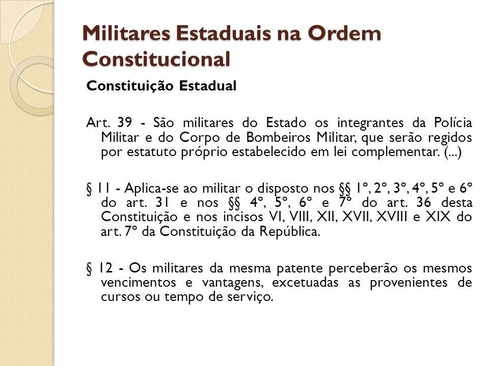 Militares Estaduais na Ordem Constitucional Constituição Estadual Art. 39 - São militares do Estado os integrantes da Polícia Militar e do Corpo de Bo