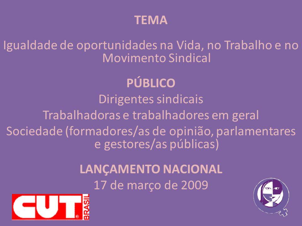 CAMPANHA Igualdade de Oportunidades na Vida, no Trabalho e no Movimento Sindical REALIZAÇÃO Central Única dos Trabalhadores Secretaria Nacional Da Mulher Trabalhadora da CUT - SNMT