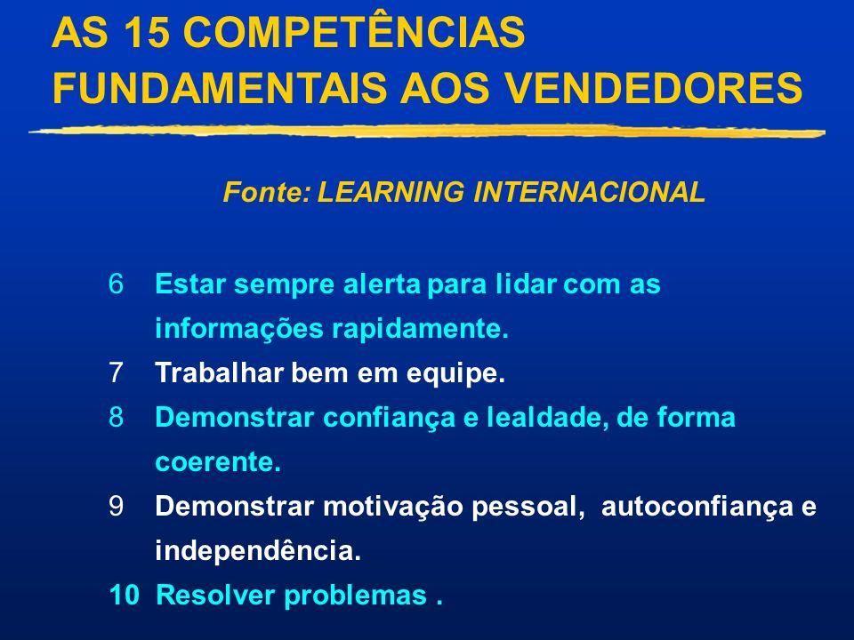 AS 15 COMPETÊNCIAS FUNDAMENTAIS AOS VENDEDORES Fonte: LEARNING INTERNACIONAL 1Desenvolver a confiança e a fidelidade dos clientes.. 2Colocar-se no lug