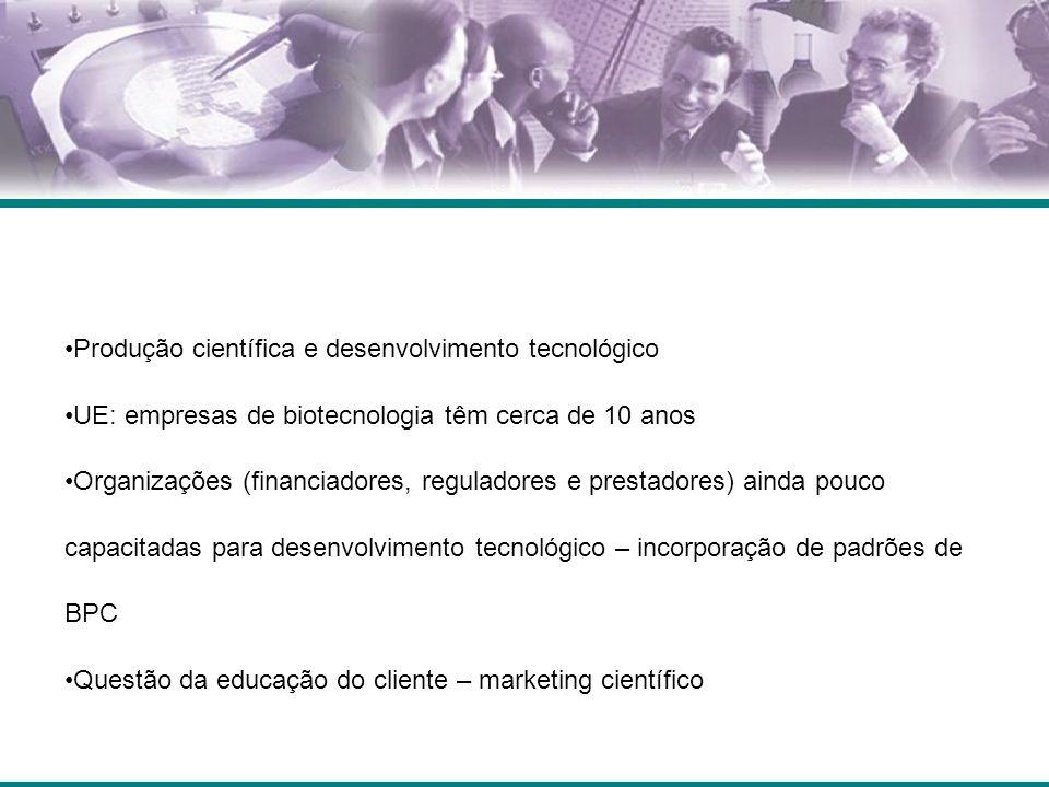 Produção científica e desenvolvimento tecnológico UE: empresas de biotecnologia têm cerca de 10 anos Organizações (financiadores, reguladores e prestadores) ainda pouco capacitadas para desenvolvimento tecnológico – incorporação de padrões de BPC Questão da educação do cliente – marketing científico