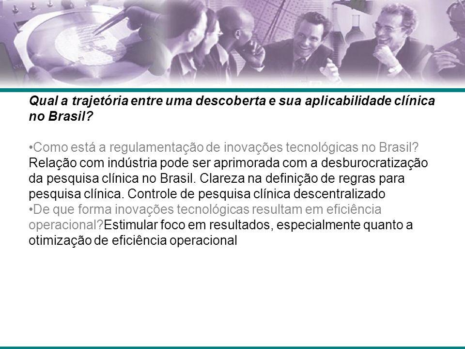 Qual a trajetória entre uma descoberta e sua aplicabilidade clínica no Brasil? Como está a regulamentação de inovações tecnológicas no Brasil? Relação