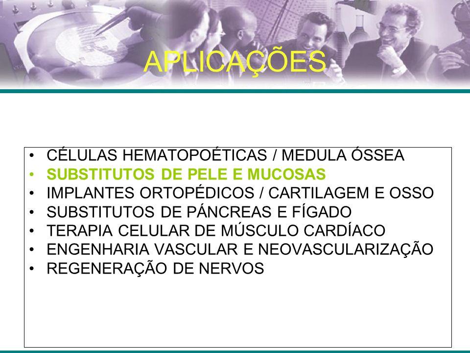 APLICAÇÕES CÉLULAS HEMATOPOÉTICAS / MEDULA ÓSSEA SUBSTITUTOS DE PELE E MUCOSAS IMPLANTES ORTOPÉDICOS / CARTILAGEM E OSSO SUBSTITUTOS DE PÁNCREAS E FÍGADO TERAPIA CELULAR DE MÚSCULO CARDÍACO ENGENHARIA VASCULAR E NEOVASCULARIZAÇÃO REGENERAÇÃO DE NERVOS