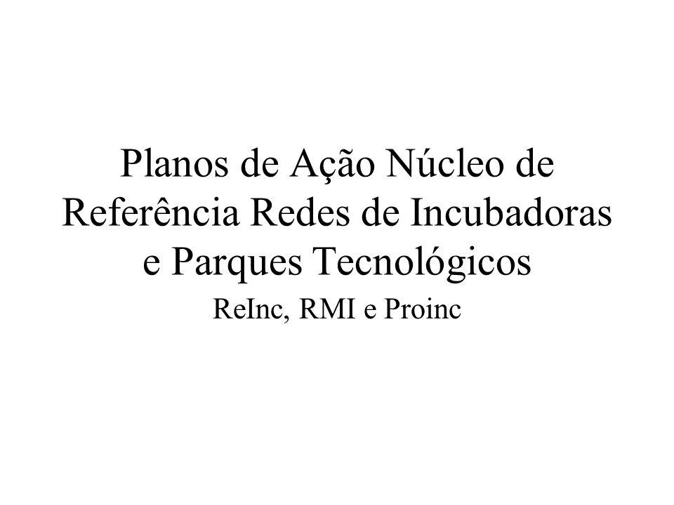 Planos de Ação Núcleo de Referência Redes de Incubadoras e Parques Tecnológicos ReInc, RMI e Proinc