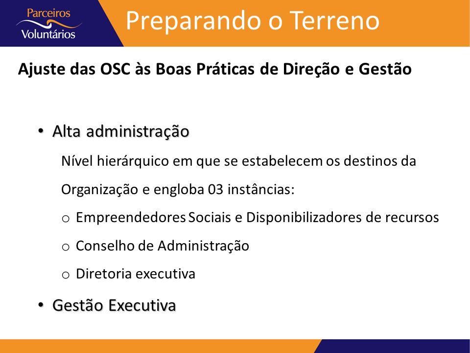 Preparando o Terreno Ajuste das OSC às Boas Práticas de Direção e Gestão Alta administração Alta administração Nível hierárquico em que se estabelecem