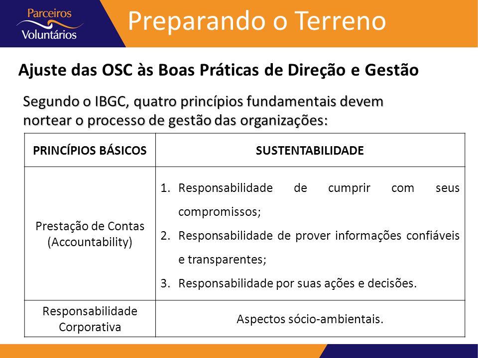 Preparando o Terreno Ajuste das OSC às Boas Práticas de Direção e Gestão Segundo o IBGC, quatro princípios fundamentais devem nortear o processo de ge