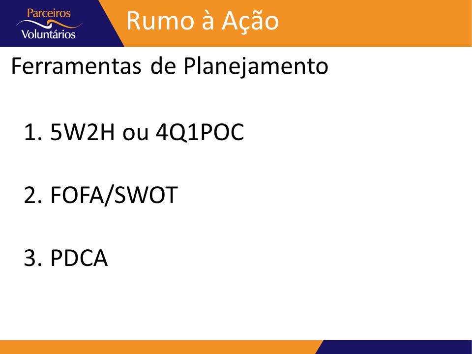 Ferramentas de Planejamento Rumo à Ação 1.5W2H ou 4Q1POC 2.FOFA/SWOT 3.PDCA