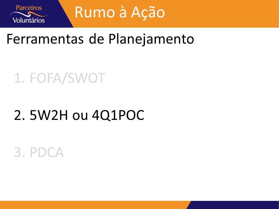 Ferramentas de Planejamento Rumo à Ação 1.FOFA/SWOT 2.5W2H ou 4Q1POC 3.PDCA