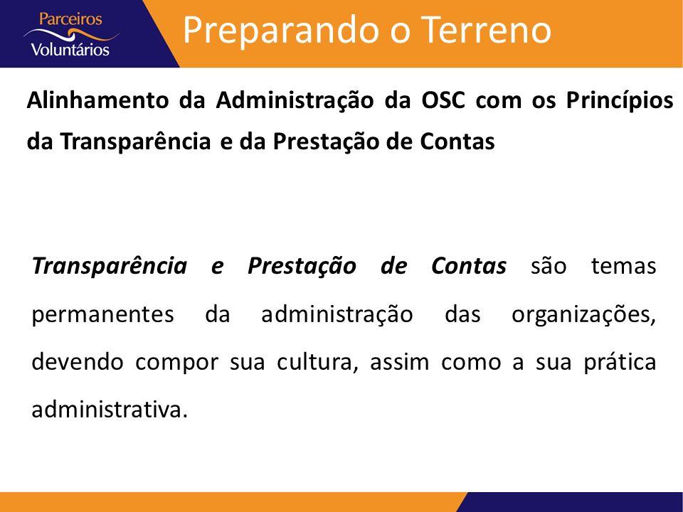 Preparando o Terreno Alinhamento da Administração da OSC com os Princípios da Transparência e da Prestação de Contas A qualidade das práticas de Transparência e Prestação de Contas é consequência da qualidade da administração da OSC.