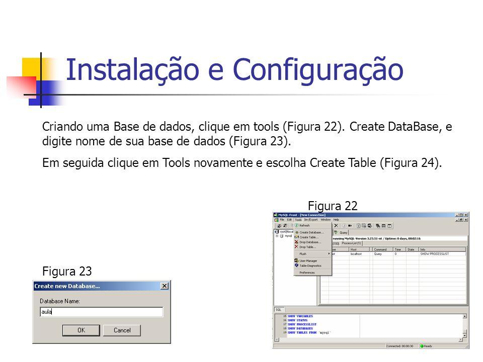 Instalação e Configuração Criando uma Base de dados, clique em tools (Figura 22). Create DataBase, e digite nome de sua base de dados (Figura 23). Em
