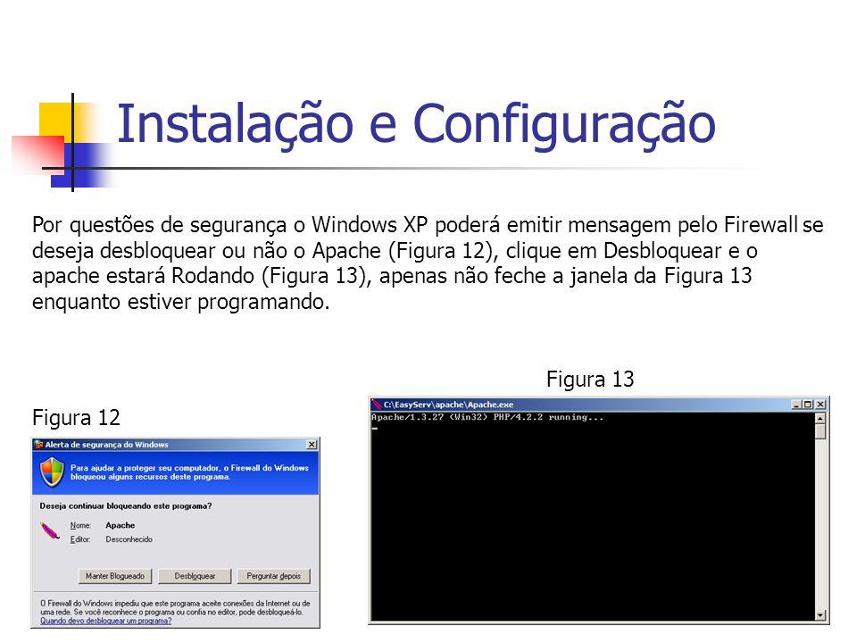 Instalação e Configuração Por questões de segurança o Windows XP poderá emitir mensagem pelo Firewall se deseja desbloquear ou não o Apache (Figura 12
