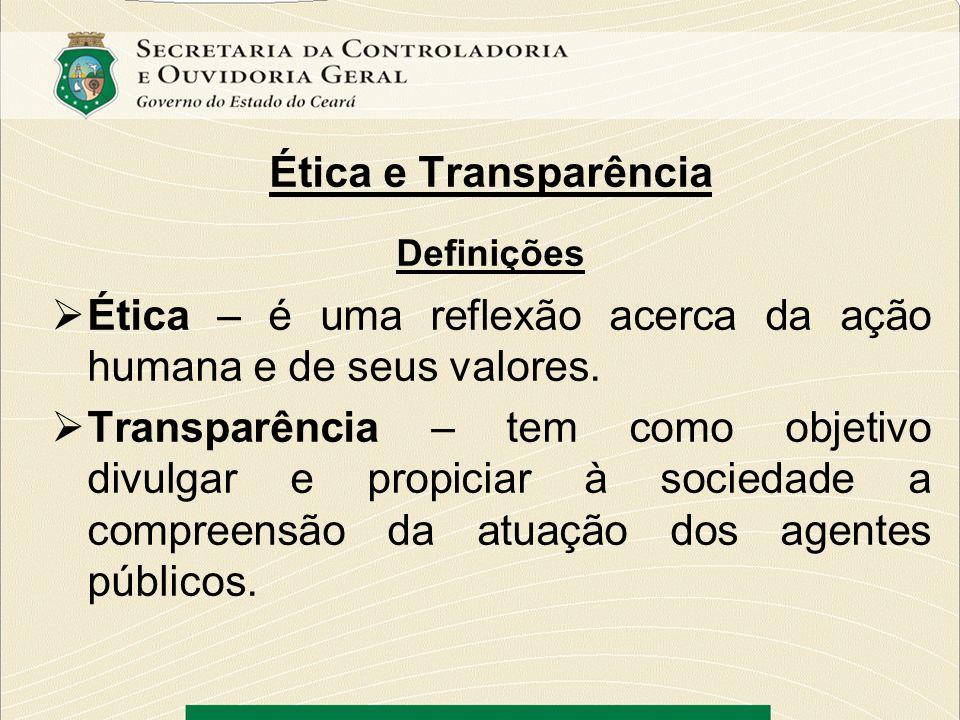 Ética e Transparência Definições Ética – é uma reflexão acerca da ação humana e de seus valores. Transparência – tem como objetivo divulgar e propicia