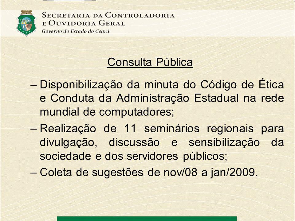 Consulta Pública –Disponibilização da minuta do Código de Ética e Conduta da Administração Estadual na rede mundial de computadores; –Realização de 11