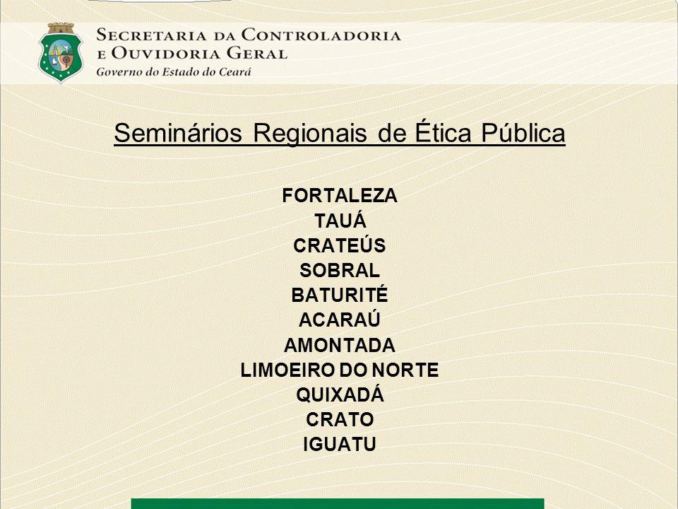 Seminários Regionais de Ética Pública FORTALEZA TAUÁ CRATEÚS SOBRAL BATURITÉ ACARAÚ AMONTADA LIMOEIRO DO NORTE QUIXADÁ CRATO IGUATU
