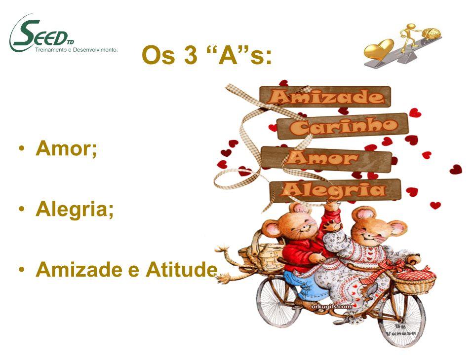 Os 3 As: Amor; Alegria; Amizade e Atitude.