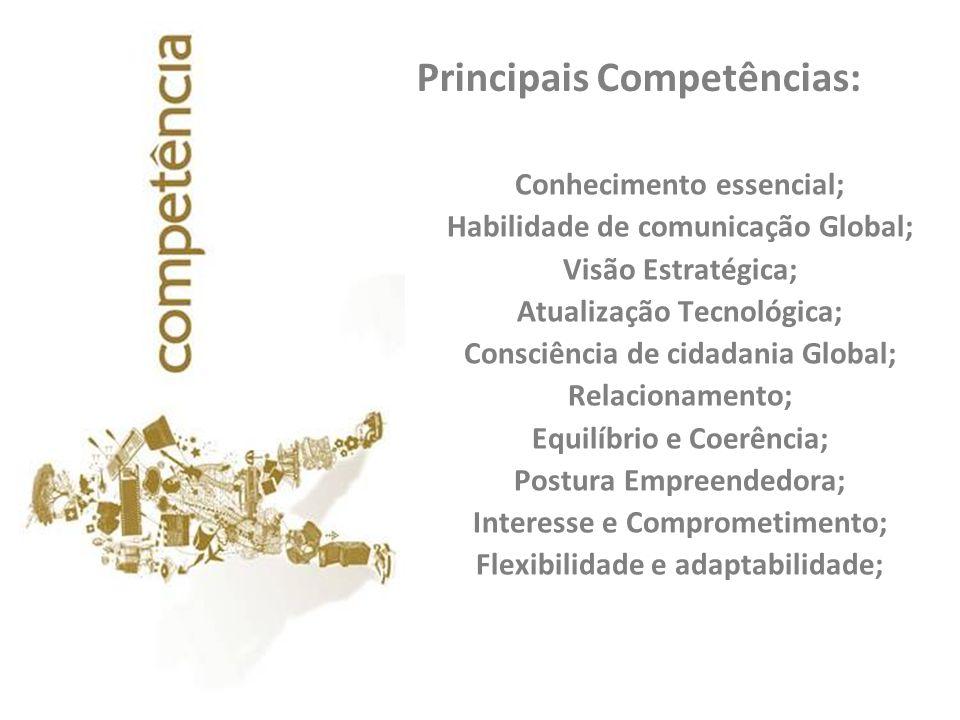 Principais Competências: Conhecimento essencial; Habilidade de comunicação Global; Visão Estratégica; Atualização Tecnológica; Consciência de cidadani