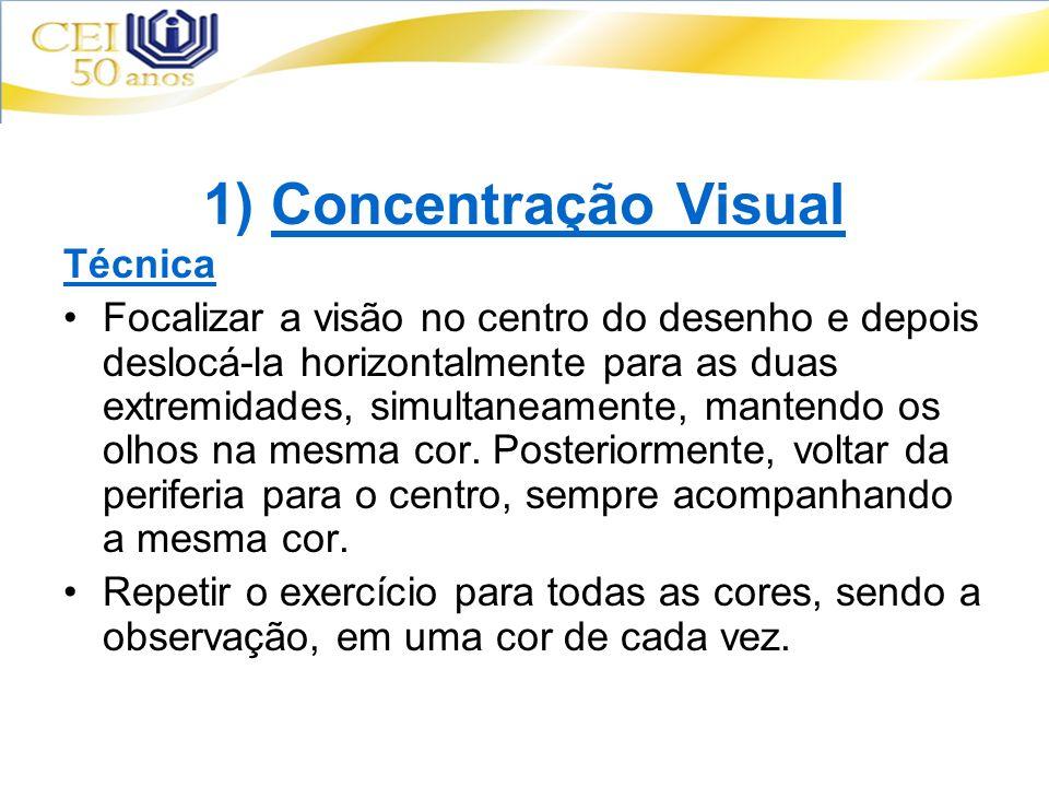 1) Concentração Visual Técnica Focalizar a visão no centro do desenho e depois deslocá-la horizontalmente para as duas extremidades, simultaneamente,