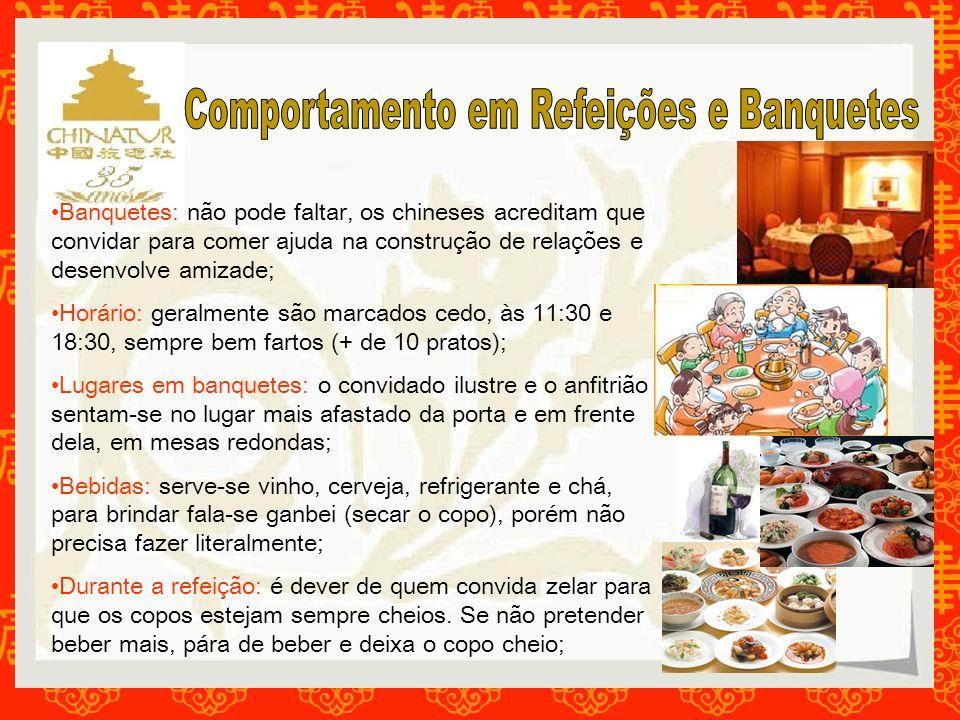 Banquetes: não pode faltar, os chineses acreditam que convidar para comer ajuda na construção de relações e desenvolve amizade; Horário: geralmente sã