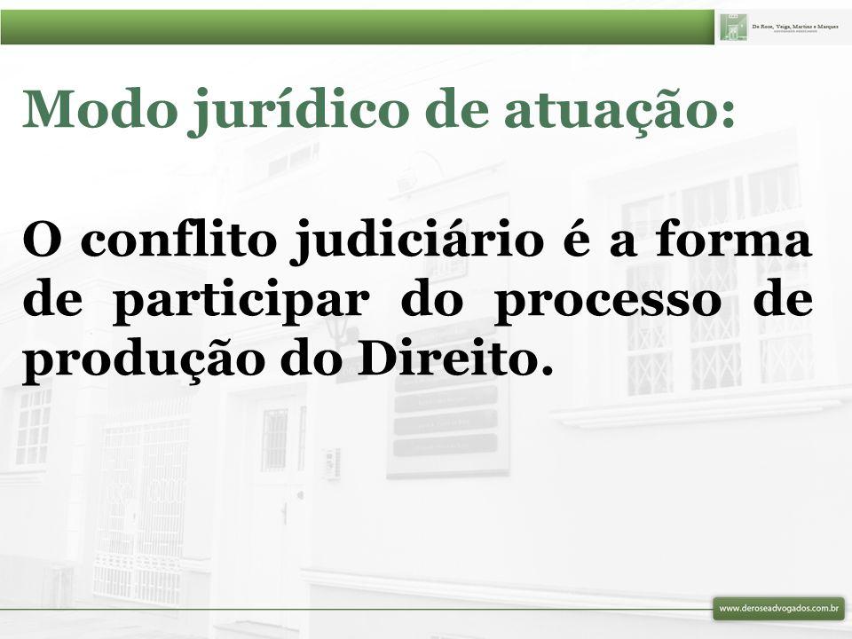 Modo jurídico de atuação: O conflito judiciário é a forma de participar do processo de produção do Direito.