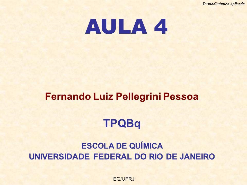 Termodinâmica Aplicada EQ/UFRJ AULA 4 Fernando Luiz Pellegrini Pessoa TPQBq ESCOLA DE QUÍMICA UNIVERSIDADE FEDERAL DO RIO DE JANEIRO