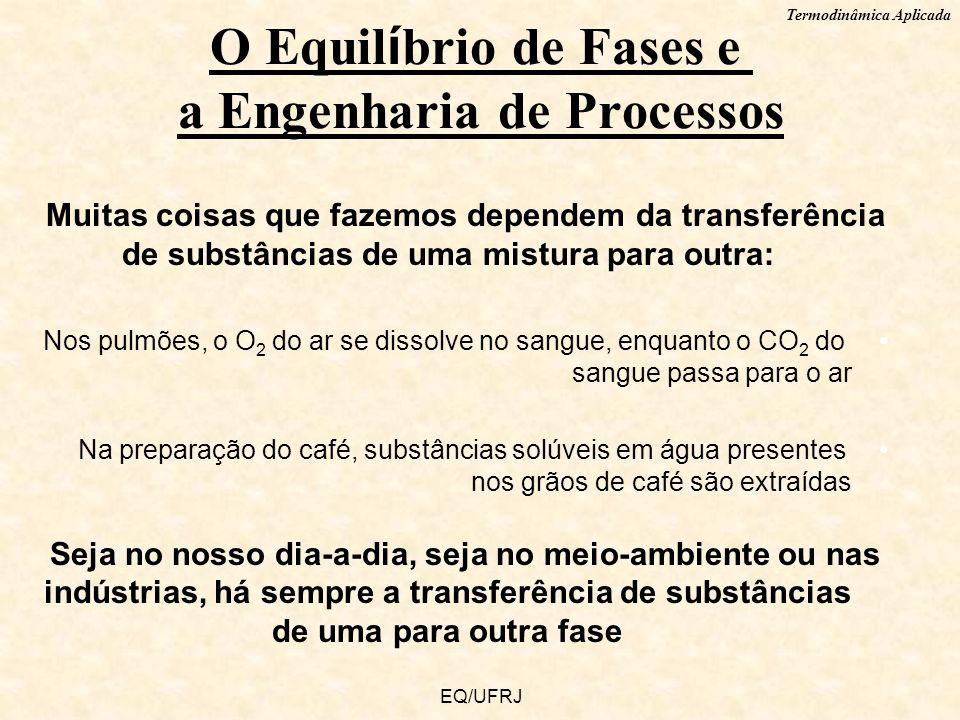 Termodinâmica Aplicada EQ/UFRJ Muitas coisas que fazemos dependem da transferência de substâncias de uma mistura para outra: Nos pulmões, o O 2 do ar