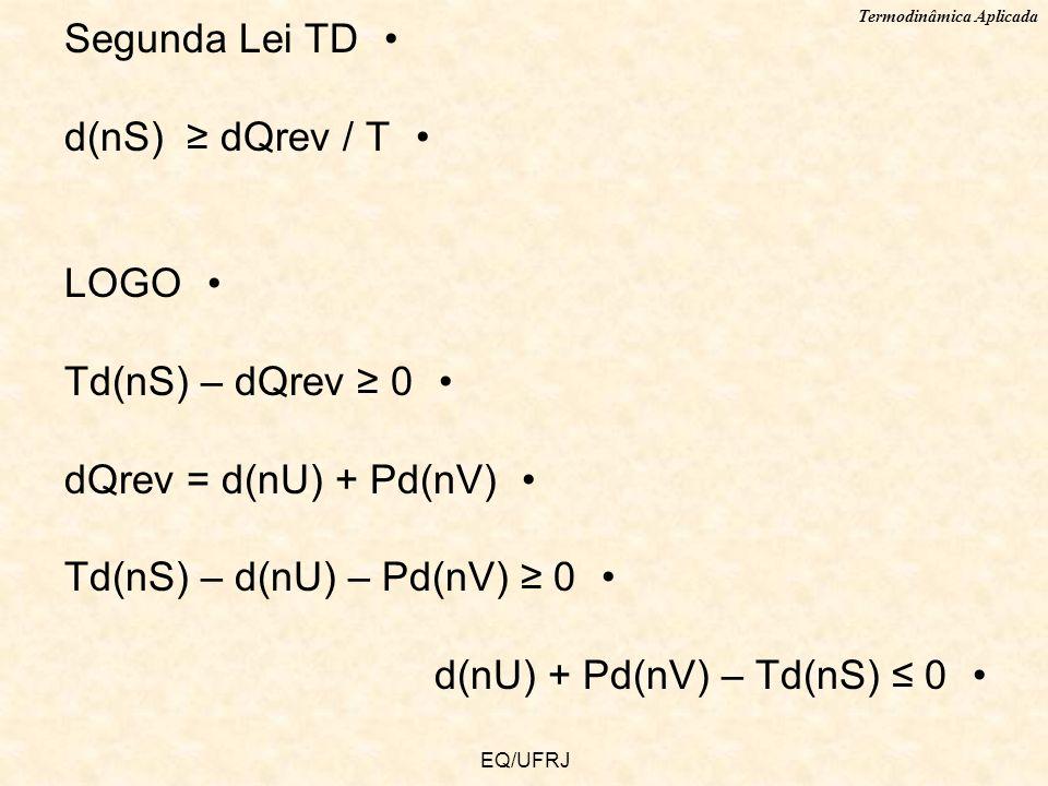 Termodinâmica Aplicada EQ/UFRJ Segunda Lei TD d(nS) dQrev / T LOGO Td(nS) – dQrev 0 dQrev = d(nU) + Pd(nV) Td(nS) – d(nU) – Pd(nV) 0 d(nU) + Pd(nV) –