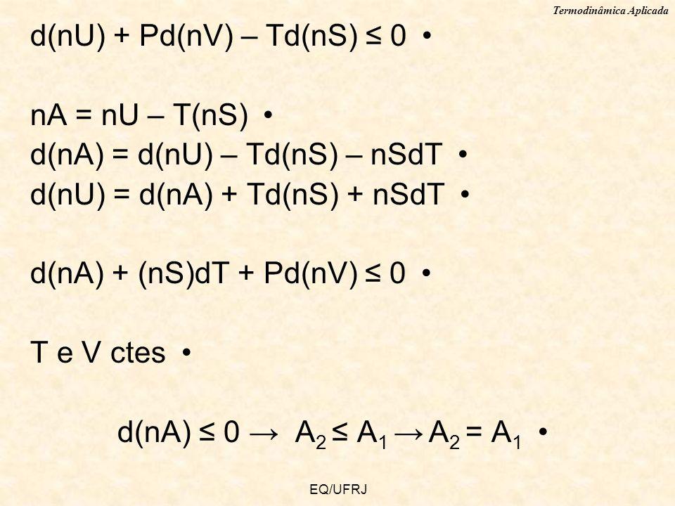 Termodinâmica Aplicada EQ/UFRJ d(nU) + Pd(nV) – Td(nS) 0 nA = nU – T(nS) d(nA) = d(nU) – Td(nS) – nSdT d(nU) = d(nA) + Td(nS) + nSdT d(nA) + (nS)dT +