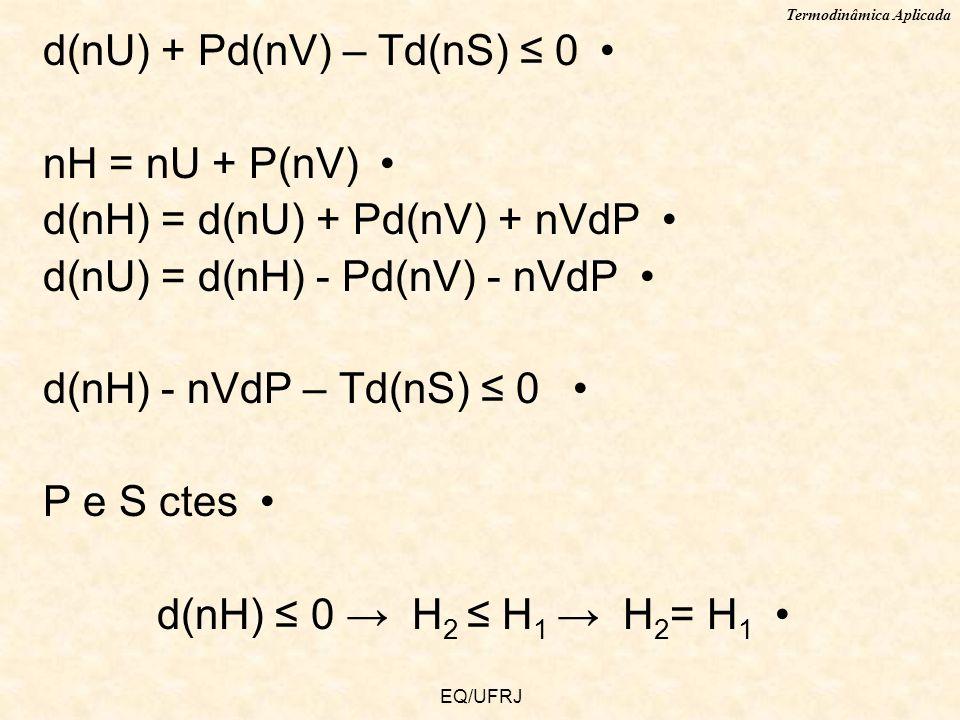 Termodinâmica Aplicada EQ/UFRJ d(nU) + Pd(nV) – Td(nS) 0 nH = nU + P(nV) d(nH) = d(nU) + Pd(nV) + nVdP d(nU) = d(nH) - Pd(nV) - nVdP d(nH) - nVdP – Td